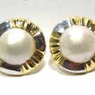 $1700 LADIES NATURAL MABE PEARL 12MM CLIP ON EARRINGS 14KT GOLD