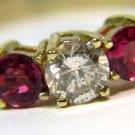 $1800 NATURAL 0.90CT DIAMOND RUBY BAND RING 14KT