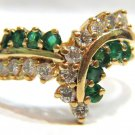$1500 NATURAL 1.15ct EMERALD DIAMOND COCKTAIL RING 14KT ANTIQUE