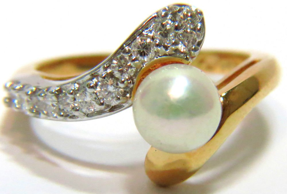 $1500 VINTAGE PEARL AND DIAMOND COCKTAIL ESTATE RING 14KT ANTIQUE