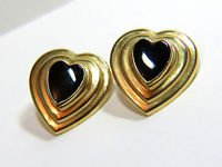 NATURAL hand carved HEART SHAPE  BLACK ONYX EARRINGS 14KT