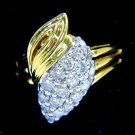 NATURAL 0.50CT DIAMOND CLUSTER COCKTAIL VINTAGE OLD RING 14KT YELLOW GOLD
