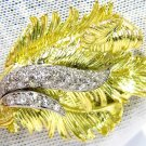OLD 1.00CT DIAMOND 18KT PLATINUM 3D PEACOCK FEATHER TWIST VINTAGE BROOCH NATURAL