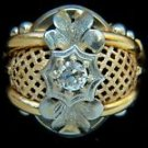 VINTAGE CELTIC NATURAL 0.50CT DIAMOND 18KT  RING MESH BASKET BAND LADIES 7