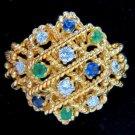 0.80CT EMERALD DIAMOND SAPPHIRE COCKTAIL BAND RING 14KT ROPE TWIST DESIGN