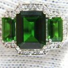 NATURAL 3.76CT RUSSIAN CHROME DIOPSIDE DIAMOND THREE STONE RING 14KT H VS2