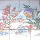 Fish Ceramic Tile Mural Star Fish Sea Shells Coral Large Backsplash 24pcs 4.25""