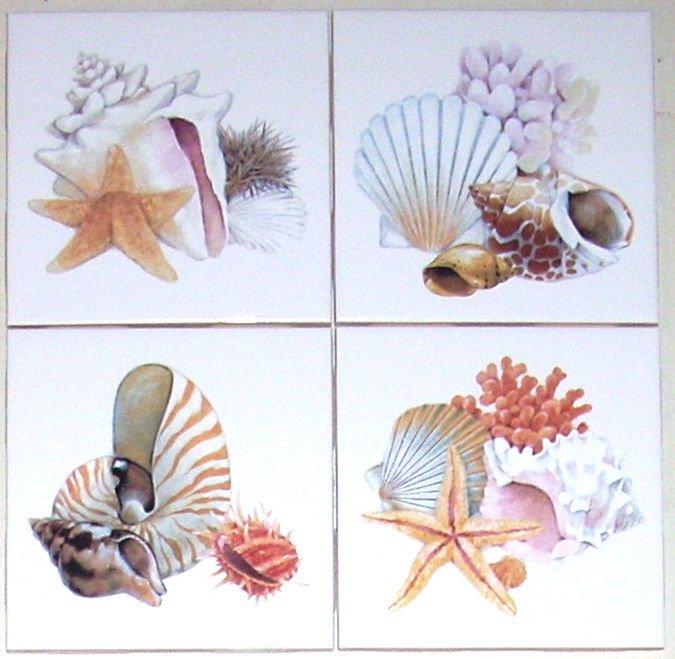 "Shells Star Fish Set of 4 Ceramic Tiles 4.25"" Kiln Fired Sea Shell Bathroom"