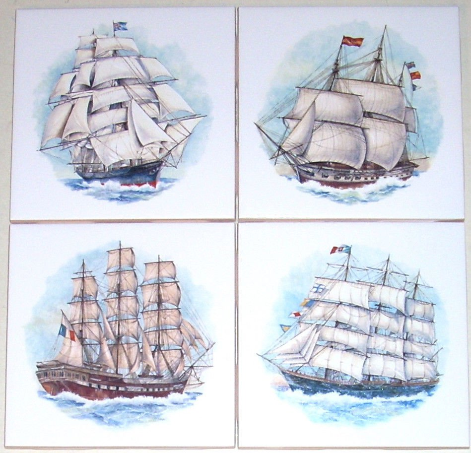 "Ship Ceramic Tiles Sailing set of 4 Kiln Fired 4.25"" x 4.25"""