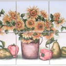 "Closeout Sunflower Ceramic Tile Mural 6pcs 4.25"" Pears Peppers Yellow Flower Kiln Fired"