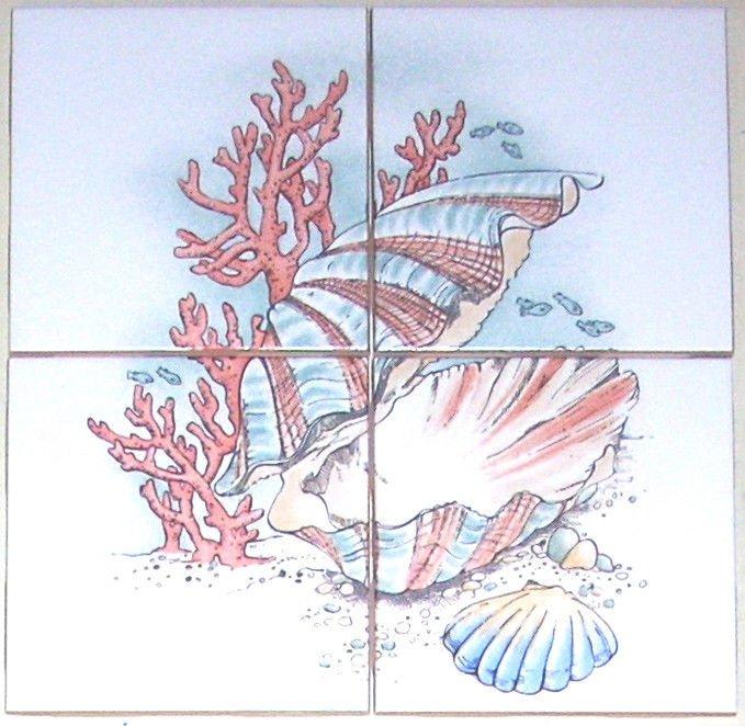 """Fish Ceramic Tile Mural Star Fish Sea Shells Coral Backsplash 4pcs of 4.25"""""""