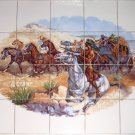 "Remington Western Ceramic Tile Mural 20pcs 4.25"" Horse Kiln Fired Biscuit"
