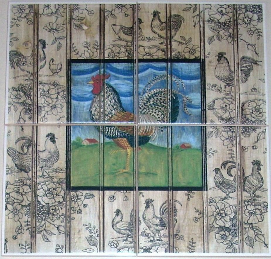 """ROOSTER CERAMIC TILE MURAL  6"""" X 6"""" KILN FIRED COLORFUL DECOR #2"""