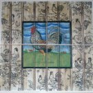 "ROOSTER CERAMIC TILE MURAL  6"" X 6"" KILN FIRED COLORFUL DECOR #2"