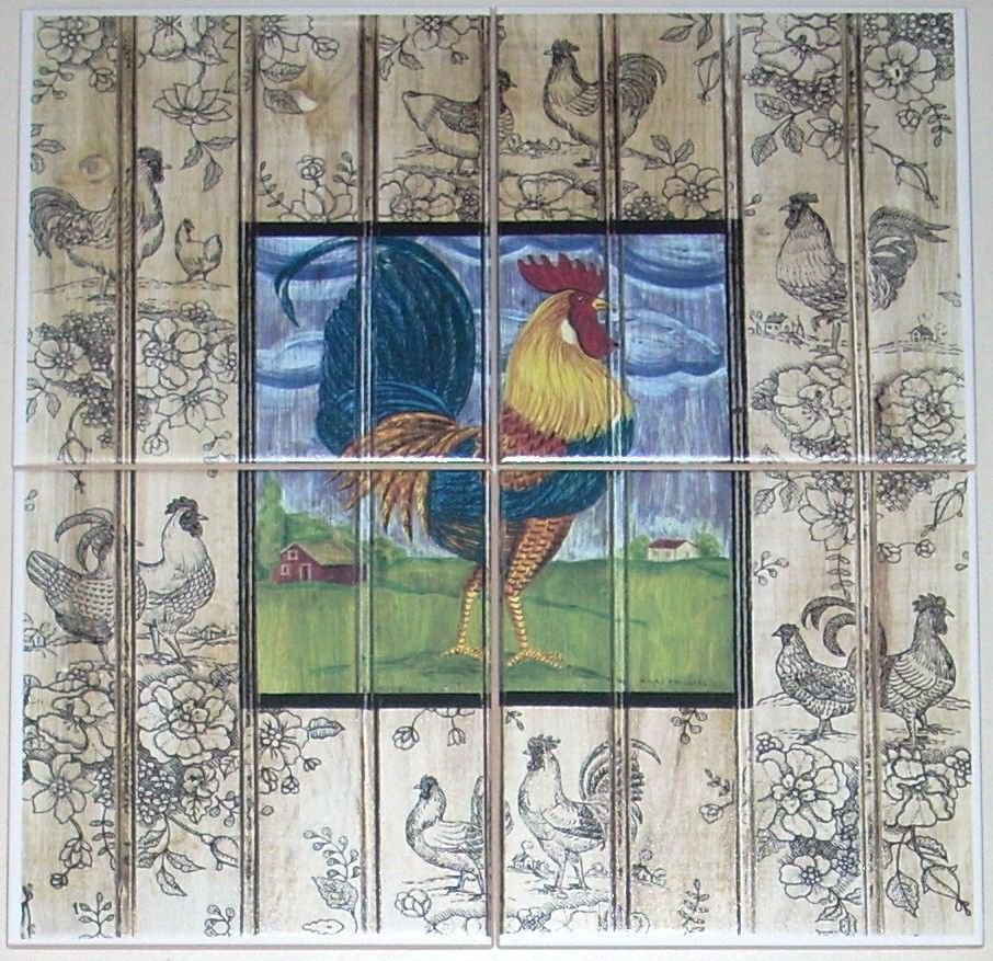 """ROOSTER CERAMIC TILE MURAL  6"""" X 6"""" KILN FIRED COLORFUL DECOR"""