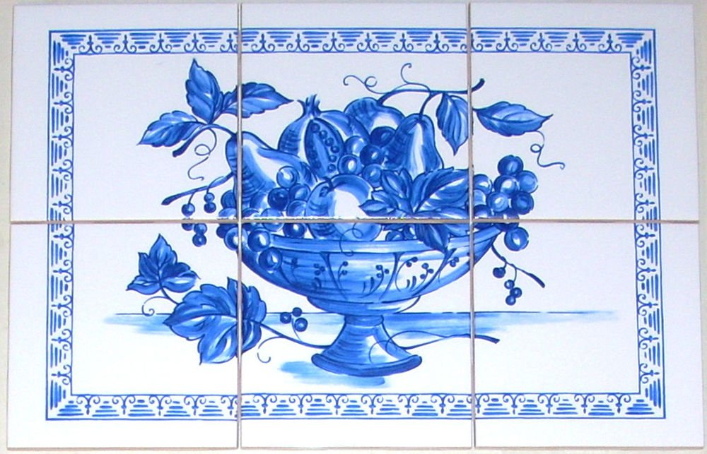 "Blue Delft Fruit Ceramic Tile Mural  6pcs of 4.25"" Kiln Fired Backsplash"