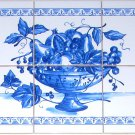 "Blue Delft Fruit Ceramic Tile Mural  6pcs of 4.25"" Kiln Fired Backsplash"