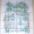 Swan Lake Ceramic Tile Mural Kiln Fired LT Green and Blush Pink Back Splash
