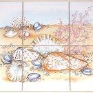 "Closeout Shell Coral Ceramic Tile Mural  Shells 6 of 4.25"" Kiln Fired Back Splash"
