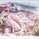 "Seascape Ceramic Tile Mural Sea Shell Shells 6pc 4.25"" Kiln Fired"