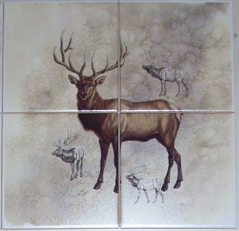 "Elk Ceramic Tile Mural 4 of 6"" Size 12"" x 12"" Back Splash Wild Life Decor"