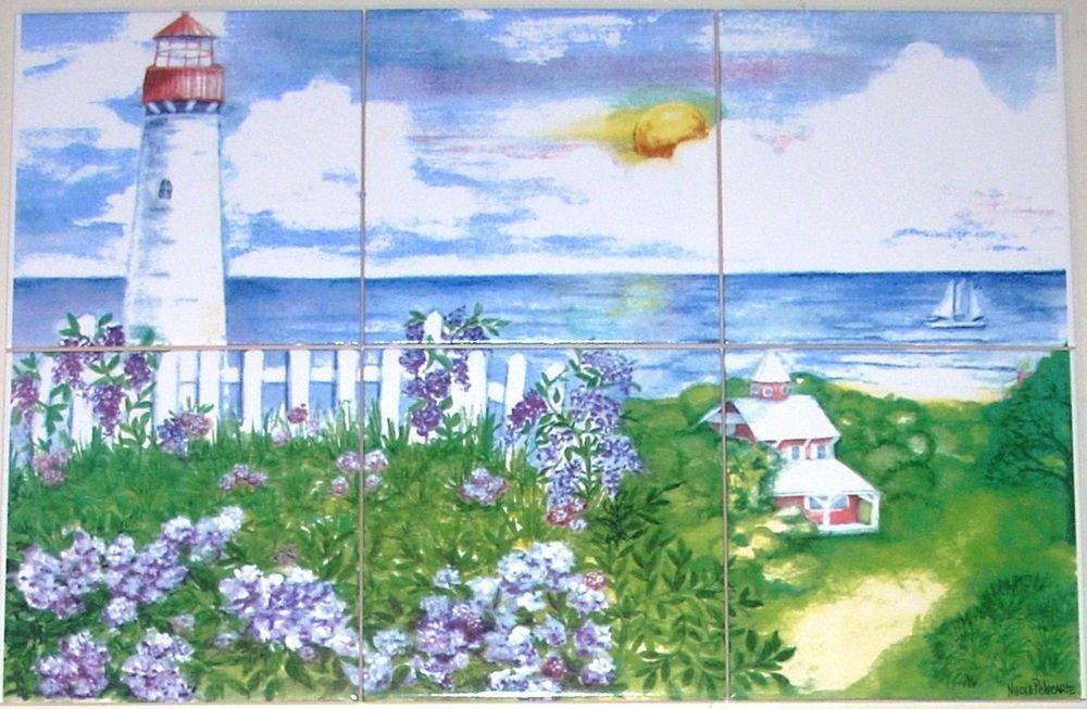 """White Light House Ceramic Tile Mural 6 of 6"""" Lighthouse Backsplash Kiln Fired"""