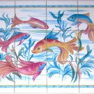 "Closeout Tropical Gold Fish Ceramic Tile Mural Backsplash 12pc 4.25"" Kiln Fired"