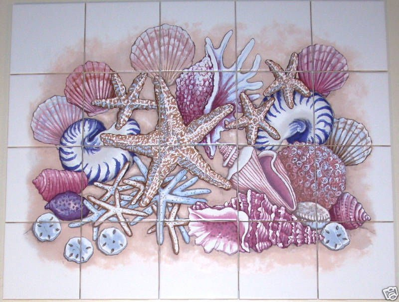 "Sea Shell Ceramic Tiles Mural 20pc 4.25"" Star Fish Conch Backsplash Kiln Fired"