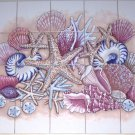 "Sea Shell Ceramic Tiles Mural 20pc 4.25"" Star Fish Conch Backsplash Kiln Fired"