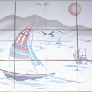 Closeout Sail Boat Ceramic Tile Mural Back splash 12 pcs kiln fired Decor* Plus 7 Accents