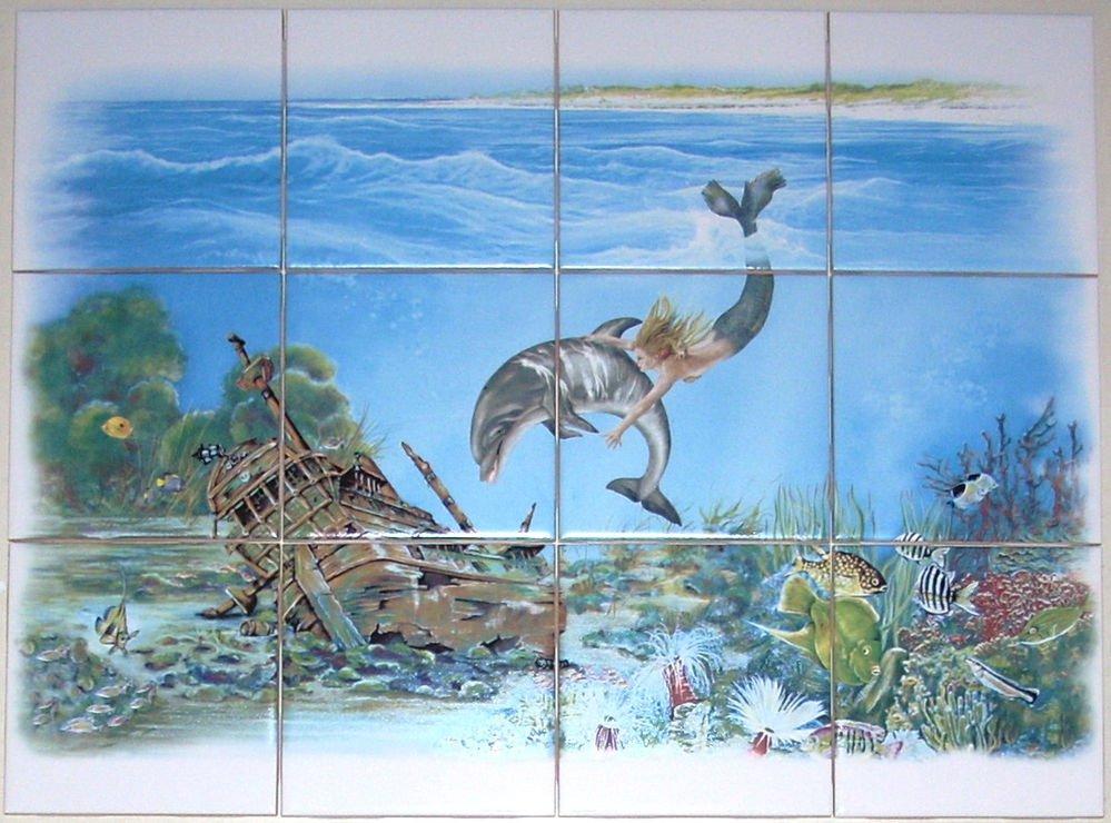 "Mermaid Ceramic Tile Mural Dolphin Treasure Ship Fish  12 of 4.25"" Kiln Fired"