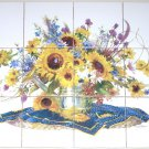 "Sunflower Watering Can Ceramic Tile Mural Back Splash 12pc 4.25"" Kiln Fired"