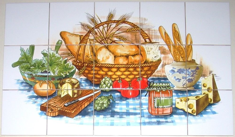 "Bread Basket Ceramic Tile Mural back splash 15 pcs of 4.25"" Kiln Fired Decor"