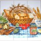 "Bread Basket Ceramic Tile Mural back splash 15 pcs of 4.25"" Kiln Fired Decor"