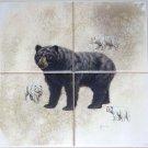 "BEAR Ceramic Tile Mural 4 of 6"" Size 12"" x 12"" Back Splash Wild Life Decor"