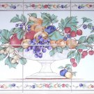 "Fruit Ceramic Tile Mural 6""x 6"" Kiln Fired Back Splash Grapes Apples"
