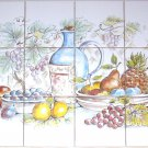 "Country Wine and Grapes Ceramic Tile Mural Back Splash 12pcs 4.25"" Kiln Fired"