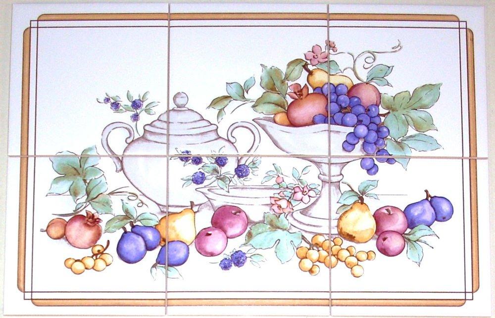 "Closeout Pretty Fruit Ceramic Tile Mural Grapes 6pcs 6"" x 6"" Kiln Fired Wall Decor"