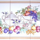 "Closeout Pretty Fruit Ceramic Tile Mural Grapes 6pcs 6"" x 6"" Kiln Fired Wall Decor"