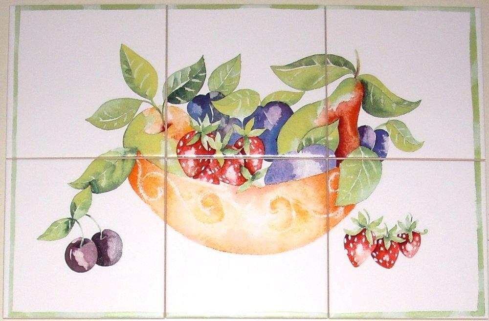 "Closeout Fruit Dish Ceramic Tile Mural 6pcs of 6""  Kiln Fired Pear Strawberry Back Splash"