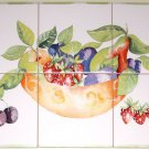 "Closeout Fruit Dish Ceramic Tile Mural 6pcs of 6""  Kiln Fired Pear Strawberry Back Splash"