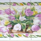 "CLOSEOUT Tulip Flower Ceramic Tile Mural Pink  6pc 4.25"" Back Splash Kiln Fired"