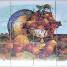 closeout Fruit Ceramic Tile Mural Grapes Apple 12pc 4.25 Backsplash Kiln Fired Decor