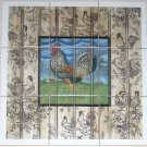 "Rooster Ceramic Tile Mural Speckled 9pcs 4.25"" Chicken Barnyard Kiln Fired Decor"