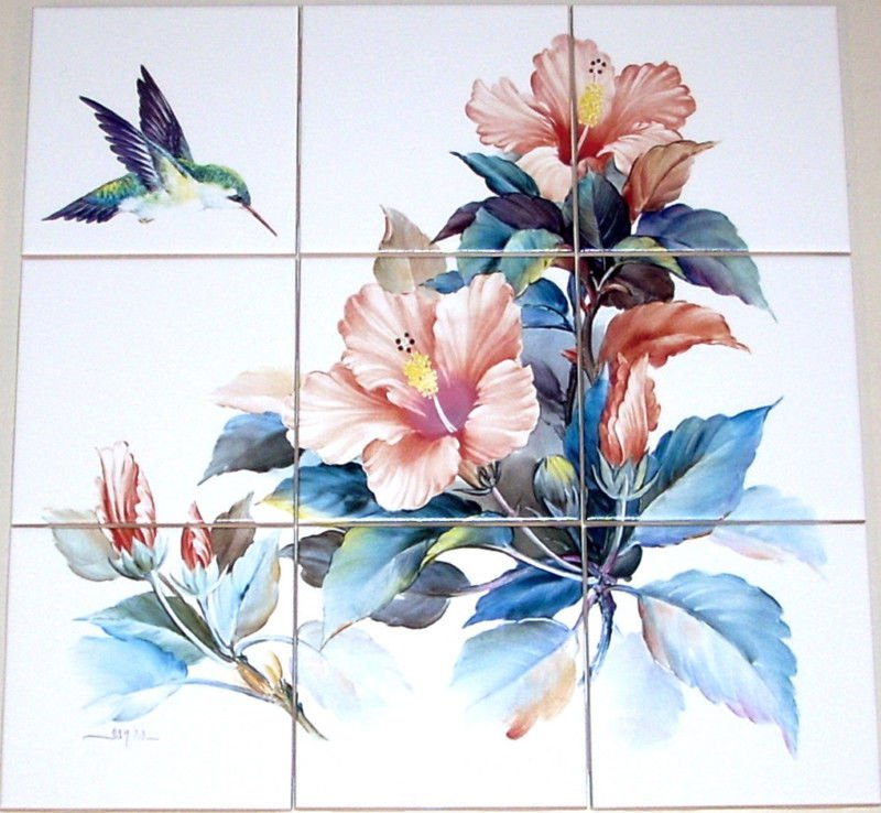"Hummingbird Ceramic Tile Mural Peach Hibiscus Flowers 9pcs 4.25"" Kiln Fired"