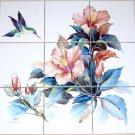 "Hummingbird Ceramic Tile Mural Peach Hibiscus Flowers 9pcs 4.25"" Kiln Fired"