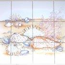 "Sea Shell Clams Ceramic Tile Mural 12pcs 4.25"" Coral Back Splash Kiln Fired"