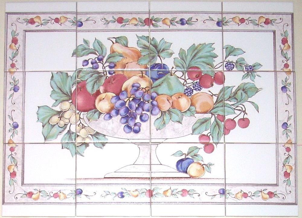 """Fruit Ceramic Tile Mural 12 pcs 4.25"""" Kiln Fired Back Splash Grapes Apples"""