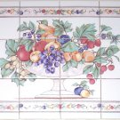 "Fruit Ceramic Tile Mural 12 pcs 4.25"" Kiln Fired Back Splash Grapes Apples"