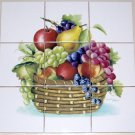 "Fruit Ceramic Tile Mural Basket Grapes Apple  9pcs 4.25"" x 4.25""  Kiln Fired"